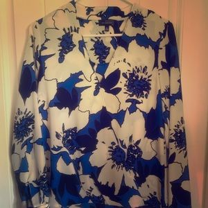 LIMITED Blue and Black Flower Blouse